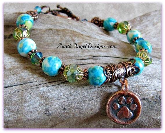 Forget Me Not Pet Memorial Bracelet; Forget-Me-Not Flowers Pet Tribute Bracelet, Forget-Me-Not Paw Print Bracelet, Forget Me Not Pet Jewelry