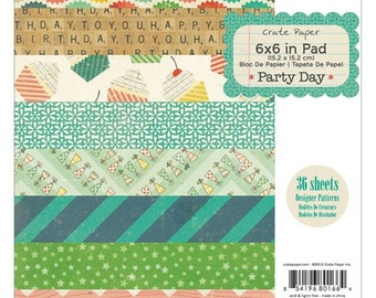 """American Crafts Crate Paper Party Day 6"""" X 6"""" Paper Pad"""