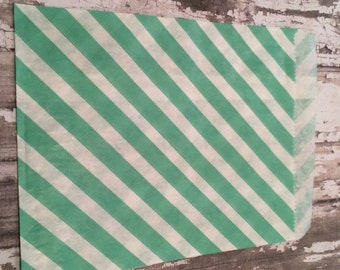 25 Light Teal/Mint Green Diagonal Stripe Paper Candy Bags, Unlined, Medium Bags.  Favor Bags, Party, Wedding, Shower, Candy, Baked Goods