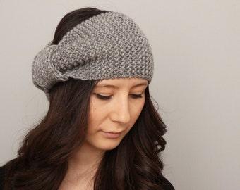 Knitted turban headband  , woman headband  ,ear warmer, grey