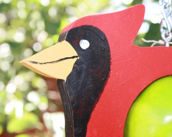 Cardinal  bird feeder - Fruit feeder - Garden decor - Outdoor decor - Handmade feeder - Natural bird feeder -Wooden bird feeder