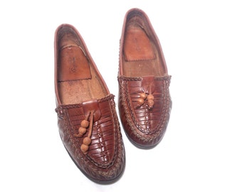 vintage italian brown woven all leather flat loafer shoes , Size : EU 36 / US Women's 6 / UK Women's 3 1/2
