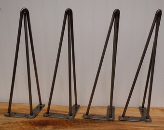 "16"" 3-Rod Hairpin Legs Mid Century Hairpin Reproduction Table Legs 3/8"" Raw Rolled Steel Set of (4) Coffee Table Hairpin Legs"