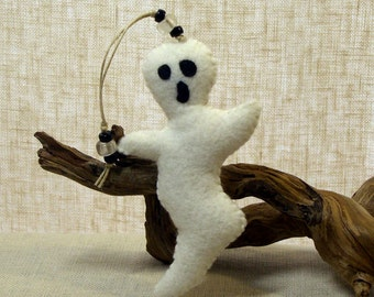 Wool Felt Ghost Ornament #2, Halloween Decoration * Ready to Ship