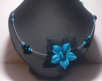 Cable collar black and turquoise, pearls