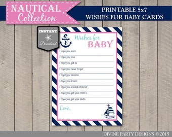 INSTANT DOWNLOAD Nautical Girl Baby Shower 5x7 Wishes for Baby Cards / Printable DIY / Nautical Girl Collection / Item #628