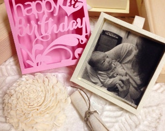 Happy Birthday cut-out box  with gift card holder, picture, and a scroll