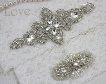 CHLOE - Wedding Rhinestone Garter Set, Wedding Stretch Lace Garter, Pearl Crystal Bridal Garters