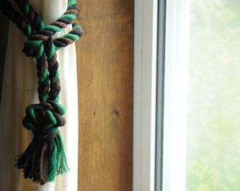 Camo Curtain Tiebacks - Cotton - Brown - Green - Black - Nautical Tiebacks - (this is for a pair)