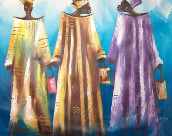 Holiday Gift The Gossipers African art painting