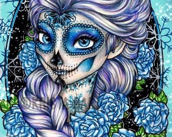 Princess Elsa Sugar Skull Print