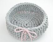 Decorative basket for storage in gray, pink, bread basket, basket for Easter