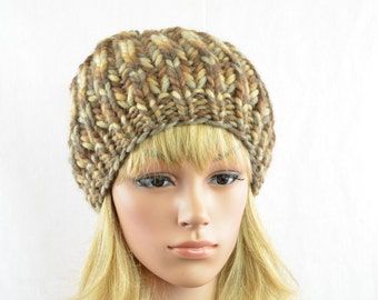 knitted hat, beanie, winter, wool, for women, handmade in  different brown and beige