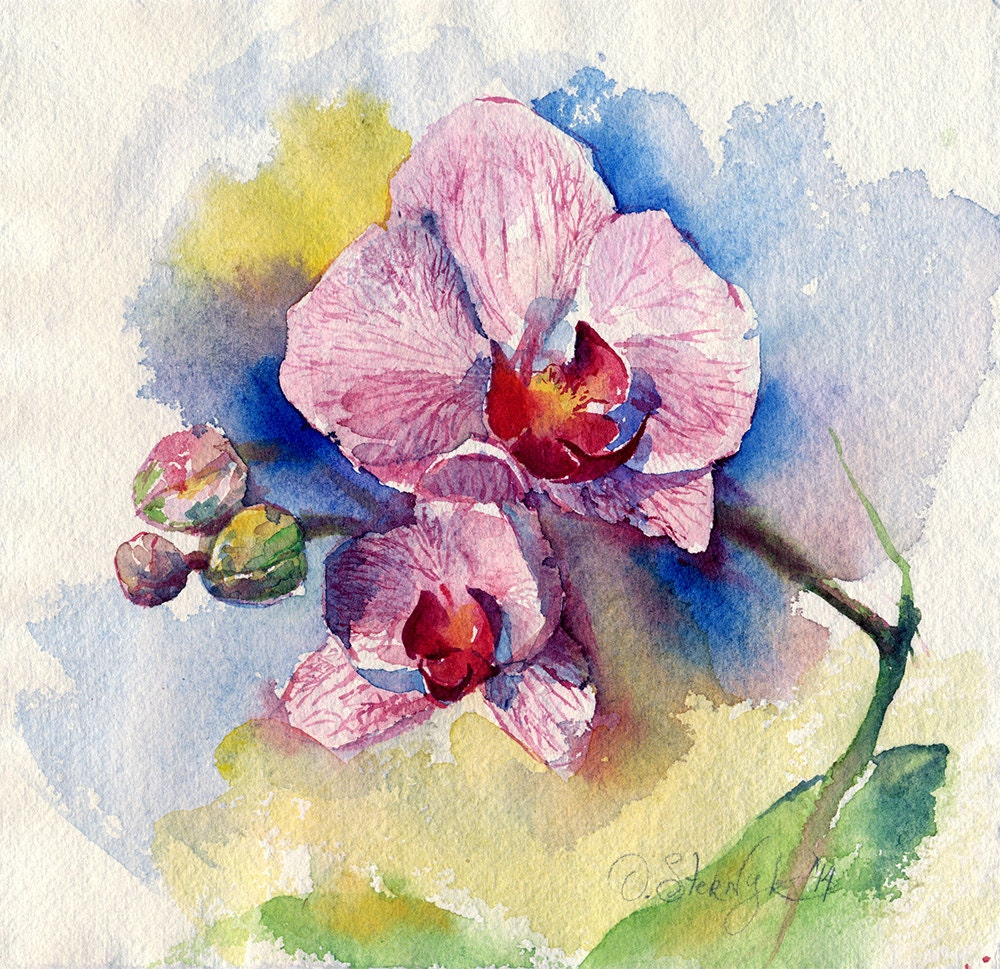 Watercolor Flower Painting: Watercolor Flower Painting Print Orchid Flower