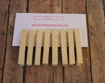 wooden clothespins, set of 8 - Yellow Gingham print on wooden pegs