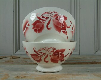 One French vintage LARGE red flower stencil cafe au lait bowl. DIGOIN manufacture. NOS. New old stock.Never used