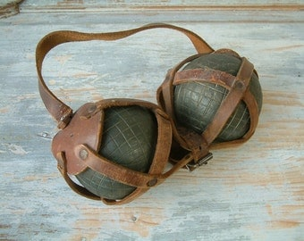 Vintage french PETANQUE ball set in original leather carrier. French petanque set