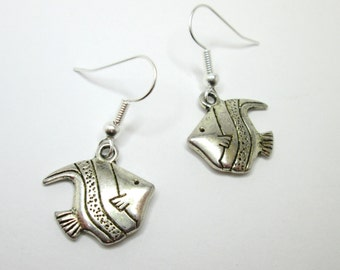 Silver angel fish charm earrings with 925 sterling silver or silver plated ear wires, angel fish jewelry, tropical fish,