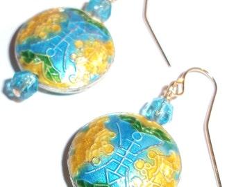 Handmade Earrings with vintage glass