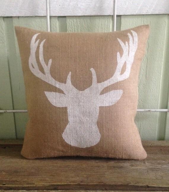 Burlap Pillow Deer Pillow Woodland Rustic By TwoPeachesDesign