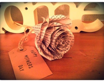 Paper rose vintage look - Perfect gift (can be personalised)