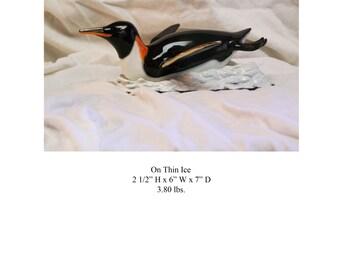 On Thin Ice Bronze Penguin Sculpture
