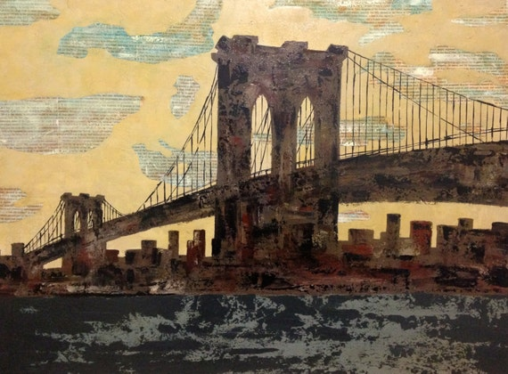 Brooklyn Bridge Painting - New York City Painting - Original Art - Acrylic on Canvas - Handmade - Living Room Painting - Wall Decor