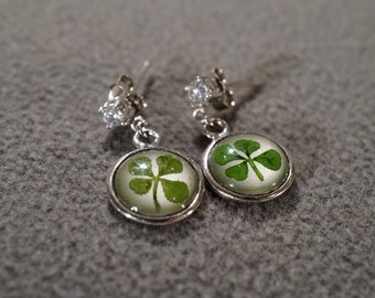 Vintage Traditional Style Sterling Silver Glass Encased Four Leaf Clover Pierced Stud Style Earrings Jewelry  K