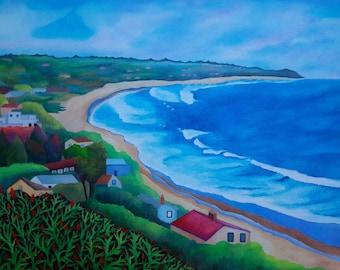 """Beautiful Southern California Coast - Malibu Beach And Canyon Original Acrylic Painting On Canvas 16 """" x 20 """" x 5 / 8 """" Profile"""