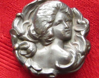 Vintage Victorian Elegant Woman Sterling Silver Pin Brooch Pendant - Free Shipping