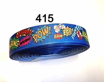 "3 or 5 yards - 1"" Super Hero Pow Bang Zap Blue Grosgrain Ribbon Hair bow"