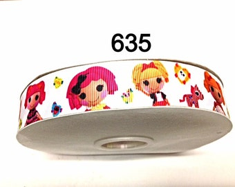"2/3/5 yard - 1"" Lalaloopsy and Friends on White Grosgrain Ribbon Hair bow"