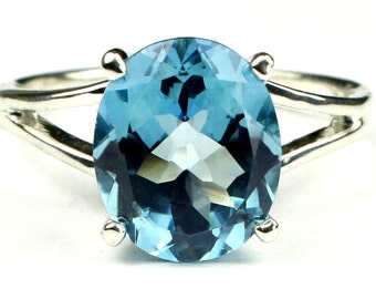SR132, Swiss Blue Topaz, 925 Sterling Silver Ring