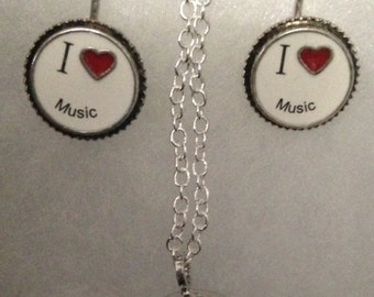 I Love Music Earrings and Matching Music Necklace