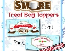 mores Treat Bag Toppers. Prin table and PERSONALIZED Christmas gifts ...