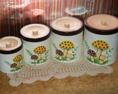 1982 Vintage Mushroom Canisters by Sears Roebuck & Co.
