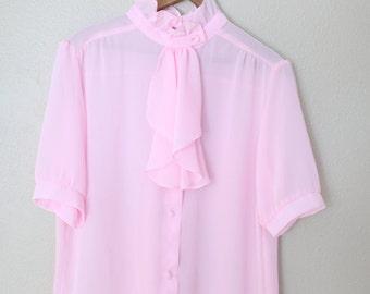 vintage pink ascot collar secretary blouse