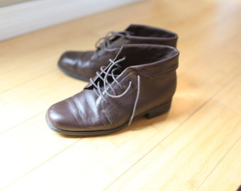 vintage cuffed brown leather oxfords ankle boots lace up womens 6 *