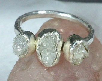 Multistone diamond ring, Triple Rough Diamond Engagement Ring, silver and raw diamond