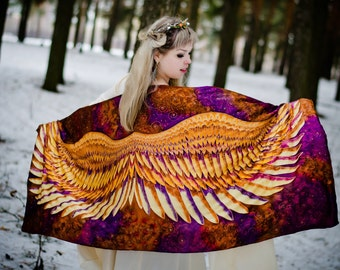 Wings Silk Scarf, Wrap Sarong. Hand Painted Silk Shawl  ' Golden wings'. Batik Hand Painted Silk Scarf. Luxury gift for her.