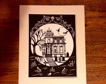 a digital file A3 papercut template,Gotic house and skelletons, cut your own, Handdrawn. advanced