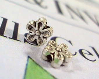 DIY 50 pcs Tibetan Silver flower  spacer flower charm pendant 7mm small flower