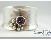 Wide Sterling Silver Ring with CZ Birthstone