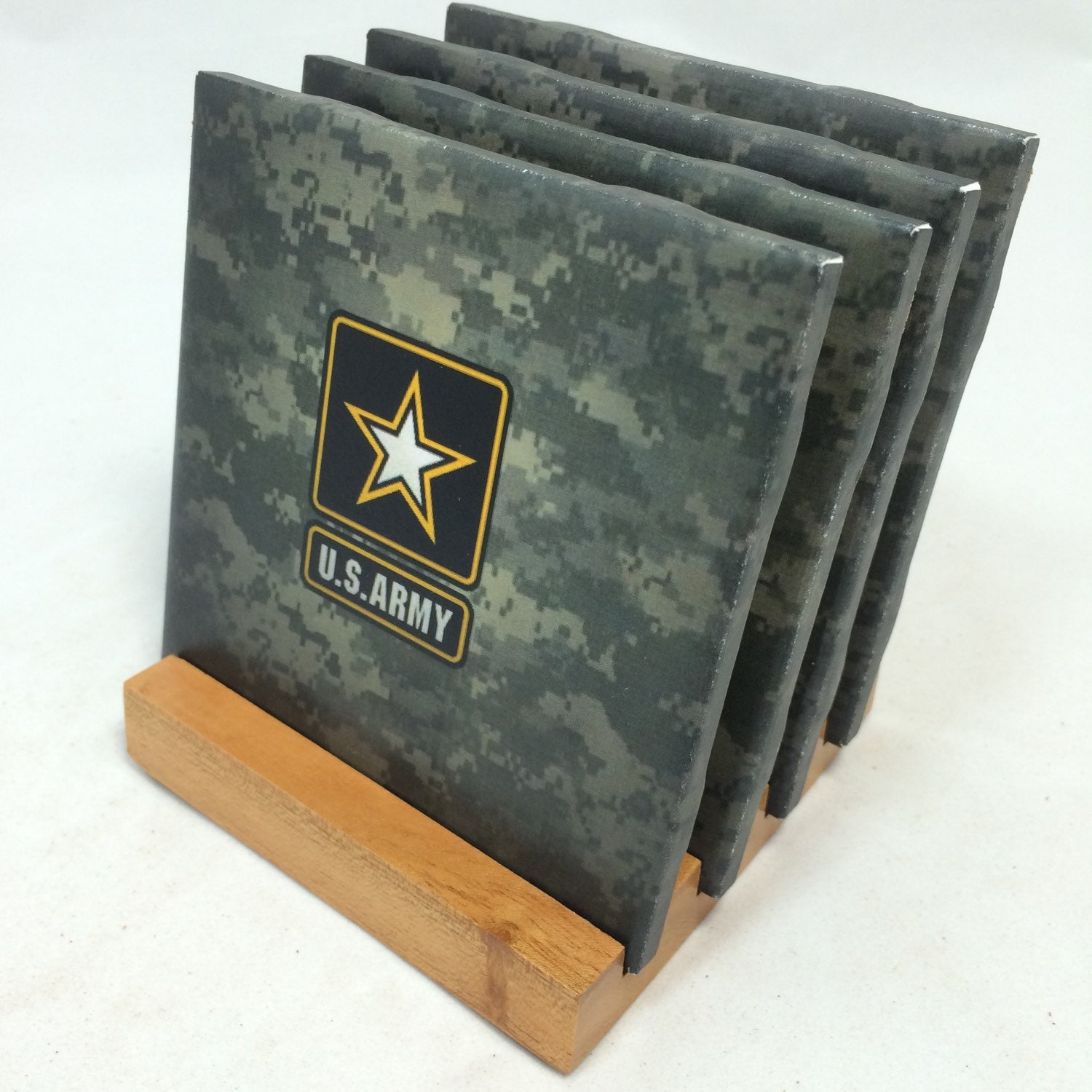 Handmade us army drink coasters set of four for Handmade drink coasters