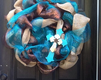 Brown and blue wreath