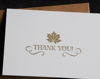 Thank you card, letterpress printed, hand printed, made in Ireland,