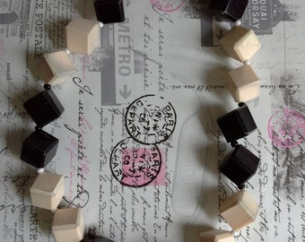 black and white cube necklace