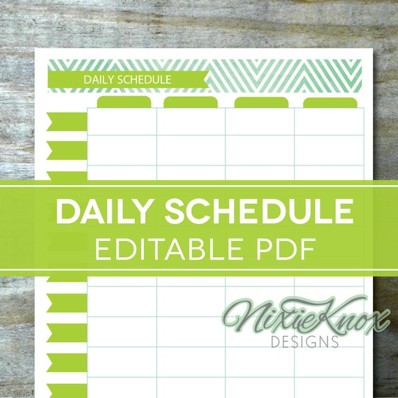 Hourly Daily Schedule Printable EDITABLE, Planner for Moms, Homeschool ...