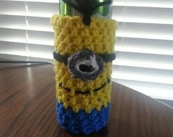 Crocheted Skinny Can Cozy Can Holder Yellow Minion Ultra Red Bull Can Afghan