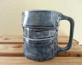 Blue Jean, Denim Coffee Mug, Cup, Western Decor, Vintage